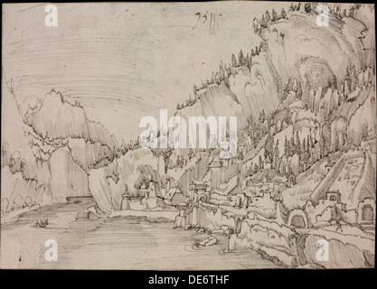 Sarmingstein on the Danube, 1511. Artist: Altdorfer, Albrecht (c. 1480-1538) - Stock Photo