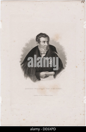 August Wilhelm von Schlegel (1767-1845). Artist: Mayer, Carl (1798-1868) - Stock Photo