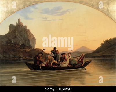 Crossing at Schreckenstein, 1837. Artist: Richter, Adrian Ludwig (1803-1884) - Stock Photo
