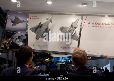London, UK. 12th September 2013. Various weapons  are on display at the Defence and Security Equipment (DSEI) arms - Stock Photo