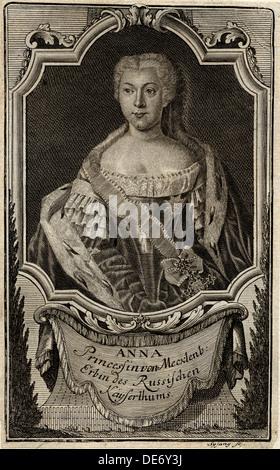 Portrait of Princess Anna Leopoldovna (1718-1746), tsar's Ivan VI mother, 1739. Artist: Sysang, Johann Christoph - Stock Photo