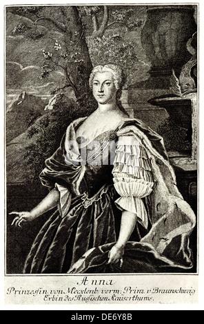 Portrait of Princess Anna Leopoldovna (1718-1746), tsar's Ivan VI mother. Artist: Anonymous - Stock Photo