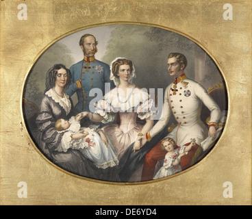The Emperor Family of Austria, 1856. Artist: Bayer, Joseph (1820-1879) - Stock Photo