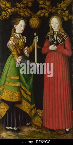 Saints Genevieve and Apollonia, 1506. Artist: Cranach, Lucas, the Elder (1472-1553) - Stock Photo