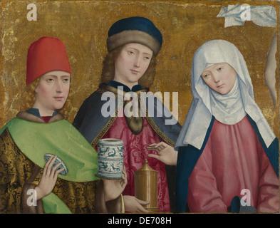 Saints Cosmas and Damian and the Virgin (The Liesborn Altarpiece), ca. 1470-1480. Artist: Master of Liesborn (15th - Stock Photo