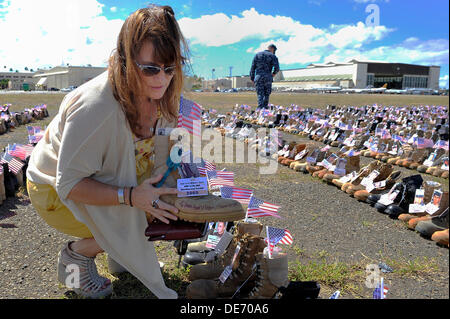 Shannon Cleary, sister of Army 1st Lt. Michael J. Cleary, who lost his life on during Operation Iraqi freedom displays - Stock Photo