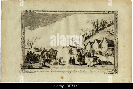 Carriages and sledges during the Winter in Russia. Artist: Anonymous - Stock Photo