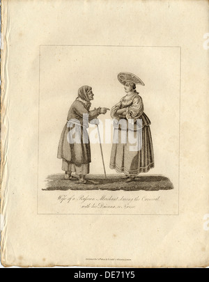 Merchant's wife wuth Nurse during Fasching, 1833. Artist: Anonymous - Stock Photo