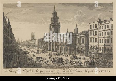 View of the Royal Exchange London, 1751. Artist: Bowles, Thomas (1695-1767) - Stock Photo