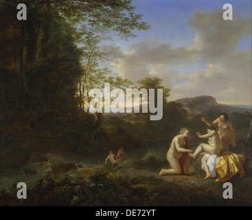 Landscape with Nymphs. Artist: Both, Jan Dirksz (ca 1618-1652) - Stock Photo