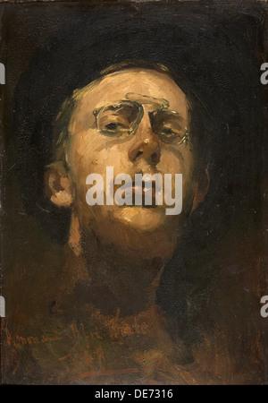 Self-portrait with Pince-nez, c. 1882. Artist: Breitner, George Hendrik (1857-1923) - Stock Photo