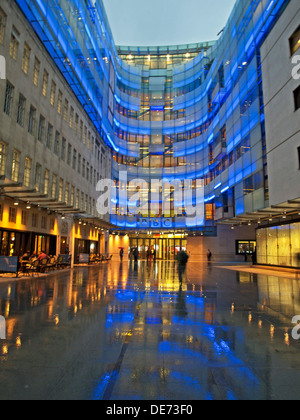 Illuminated view of the BBC Broadcasting House East Wing, Langham Place, City of Westminster, London, England, United - Stock Photo