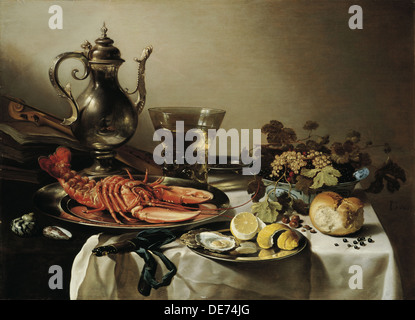 Table with lobster, silver jug, big Berkemeyer, fruit bowl, violin and books, 1641. Artist: Claesz, Pieter (c. 1597 - Stock Photo