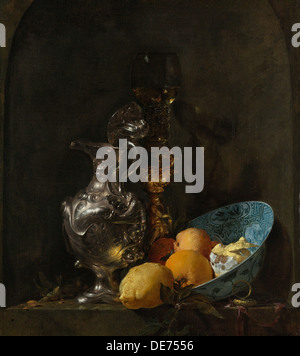 Still Life with Silver Jug, c. 1655-1656. Artist: Kalf, Willem (1619-1693) - Stock Photo