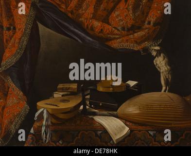 Still life with Musical Instruments, Books and Sculpture, c. 1650. Artist: Baschenis, Evaristo (1617-1677) - Stock Photo