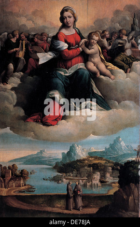 Madonna and Child in glory with the saints Anthony of Padua and Francis, 1530. Artist: Garofalo, Benvenuto Tisi - Stock Photo
