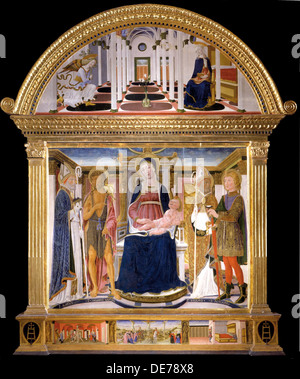 Madonna with Child and Saints Blaise, John the Baptist, Nicholas and Florian. The Annunciation, 1462. Artist: Lorenzo - Stock Photo
