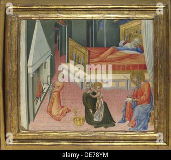The Birth of Saint John the Baptist (Predella Panel), 1454. Artist: Giovanni di Paolo (ca 1403-1482) - Stock Photo