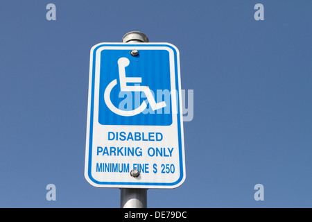 An American Disabled parking only sign - Stock Photo