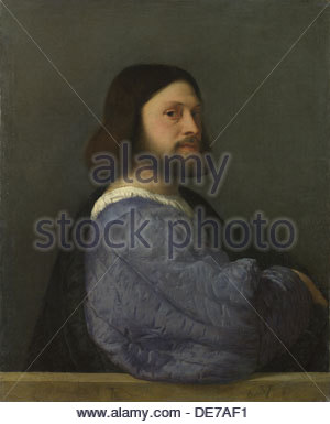 A Man with a Quilted Sleeve (Ludovico Ariosto), c. 1510. Artist: Titian (1488-1576) - Stock Photo