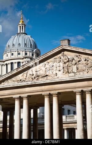Nelson Pediment, Old Navy College, Greenwich, London, England, UK - Stock Photo