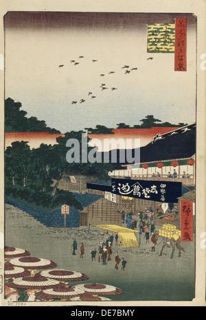 Ueno Yamashita (One Hundred Famous Views of Edo), 1856-1858. Artist: Hiroshige, Utagawa (1797-1858) - Stock Photo