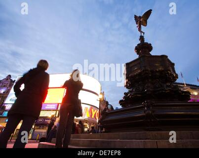 Statue of Eros, Piccadilly Circus, London, England, UK. - Stock Photo