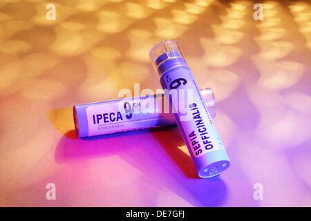 homeopathic remedies, granules, natural remedies, Ipeca, Sepia officinalis - Stock Photo