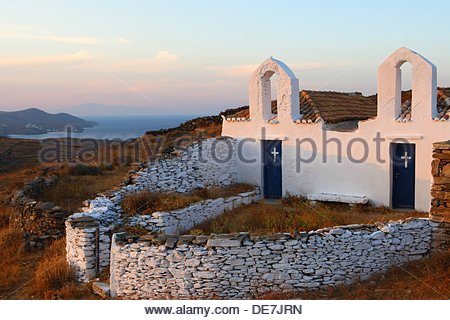 Kythnos island Greece  Picturesque chapels in the Cycladic group of islands have been built by locals and lying - Stock Photo