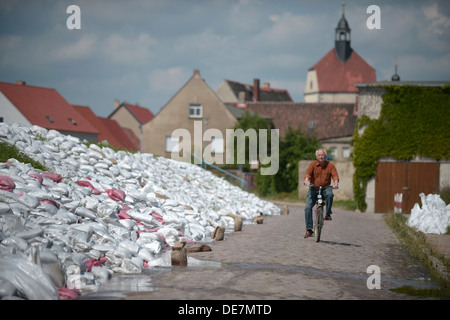 Muehl, Germany, sandbags to protect against flooding - Stock Photo