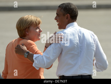 Berlin, Germany, U.S. President Barack Obama after his speech with German Chancellor Angela Merkel - Stock Photo