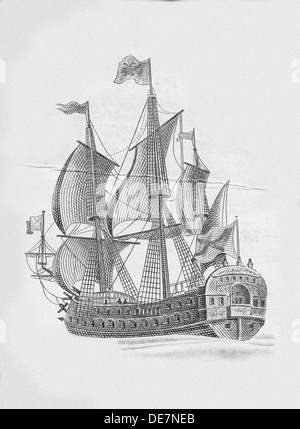 Russian ship of the line Poltava (1712). Artist: Anonymous - Stock Photo