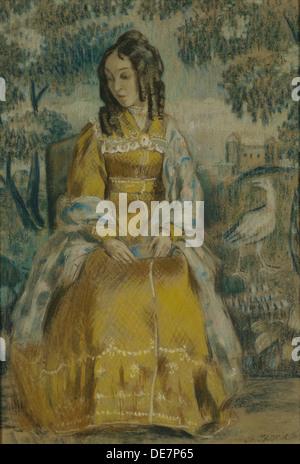 Lady by Tapestry. Portrait of Nadezhda Stanyukovich, 1903. Artist: Borisov-Musatov, Viktor Elpidiforovich (1870 - Stock Photo