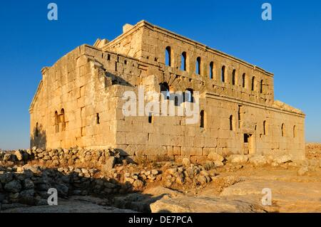ruin of the byzantine church of Mshabak, Mushabbak near Aleppo, Dead Cities, Syria, Middle East, West Asia - Stock Photo