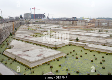 Hamburg, Germany, a stationary base plate construction project in HafenCity - Stock Photo