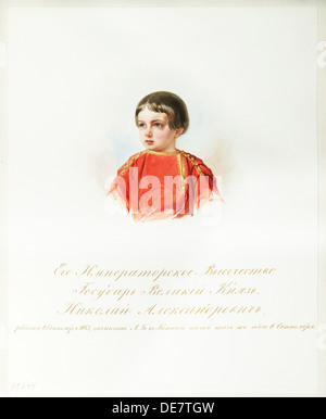 Portrait of Tsarevich Nicholas Alexandrovich of Russia (1843–1865) (From the Album of the Imperial Horse Guards), - Stock Photo