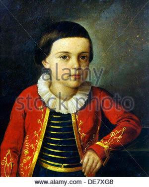 Portrait of the poet Mikhail Lermontov (1814-1841) as Child, 1820-1822. - Stock Photo