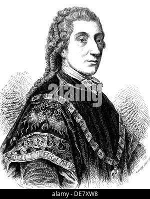 Portrait of Count Wenzel Anton Kaunitz-Rietberg (1711-1794), 1861. - Stock Photo