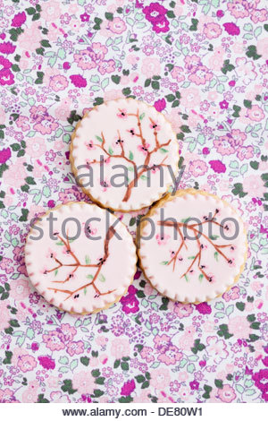 Painted pink sugar cookies, close up - Stock Photo