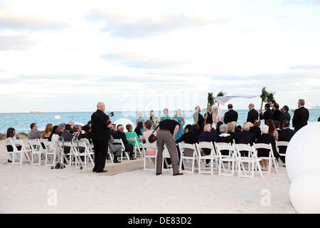 Wedding Ceremony Jews in Miami Beach, Florida, USA - Stock Photo