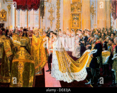 The wedding of Tsar Nicholas II and the Princess Alix of Hesse-Darmstadt on November 26, 1894. - Stock Photo