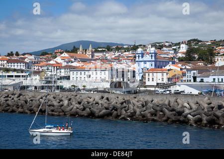 Ilha Terceira, Angra do Heroismo, Cidade Património Mundial View from the sea to the city of Angra do Heroismo, - Stock Photo