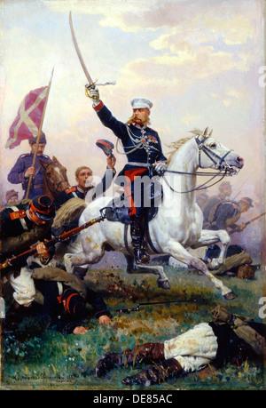 Russian General Mikhail Skobelev on horseback, (1883). Artist: Nikolai Dmitrievich Dmitriev-Orenburgsky - Stock Photo