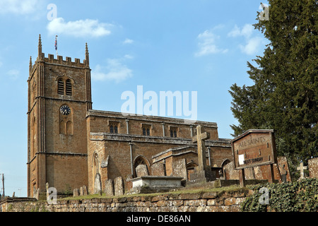All Saints Church, a 14th century parish church,  Wroxton, Oxfordshire, England, Great Britain. - Stock Photo