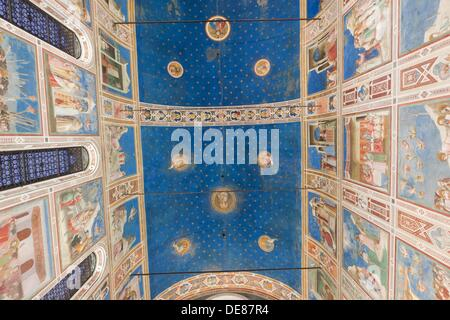 Giotto frescoes in the Scrovegni Chapel, or Cappella degli Scrovegni, a church in Padua, Veneto, Italy - Stock Photo