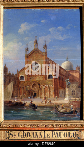 'The Santi Giovanni e Paolo (San Zanipolo) Church', 19th century. Artist: Victor Adam - Stock Photo