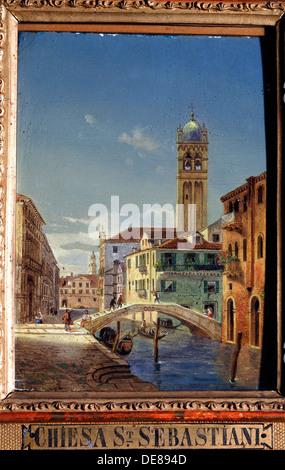 'The Church of San Sebastiano', 19th century.  Artist: Victor Adam - Stock Photo