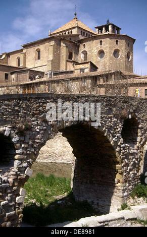 Queralt bridge (11th century). Vic. Spain - Stock Photo