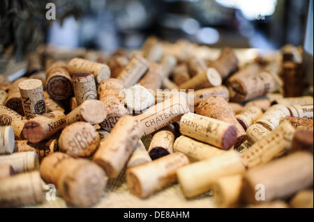 Corks are on 06.09.2013 in Hamburg on a table. Photo: picture alliance / Robert Schlesinger - Stock Photo