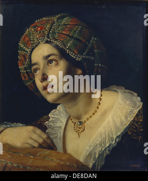 A Turkish woman. Artist: Kapkov, Yakov Fyodorovich (1816-1854) - Stock Photo